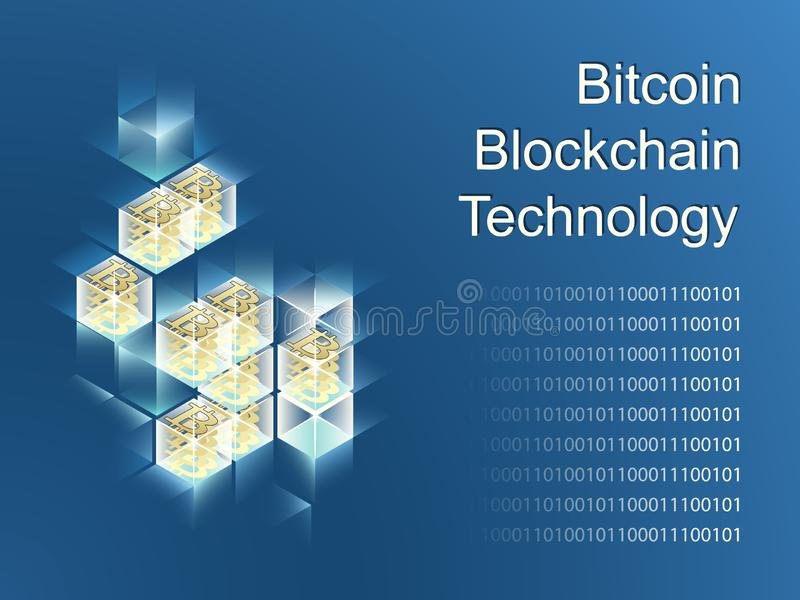 Cryptocurrency and blockchain isometric composition royalty free illustration