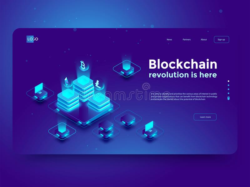Cryptocurrency and blockchain isometric composition. Isometric vector illustration. royalty free illustration