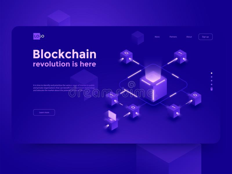 Cryptocurrency and blockchain isometric composition. Isometric vector illustration. vector illustration