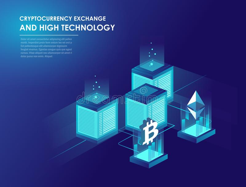 Cryptocurrency and blockchain isometric vector illustration