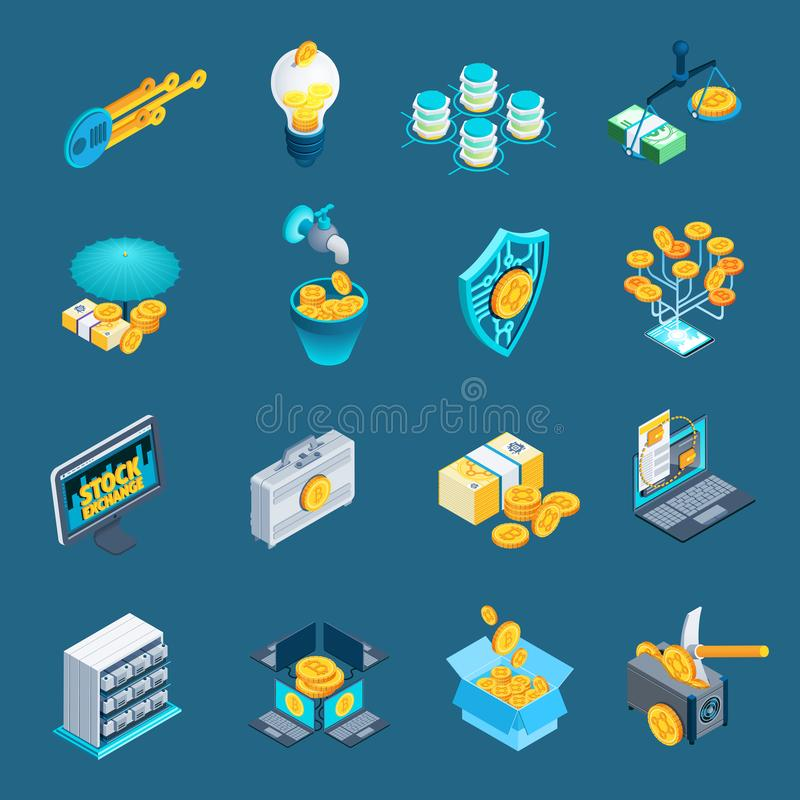 Cryptocurrency Blockchain Isometric Icons royalty free illustration
