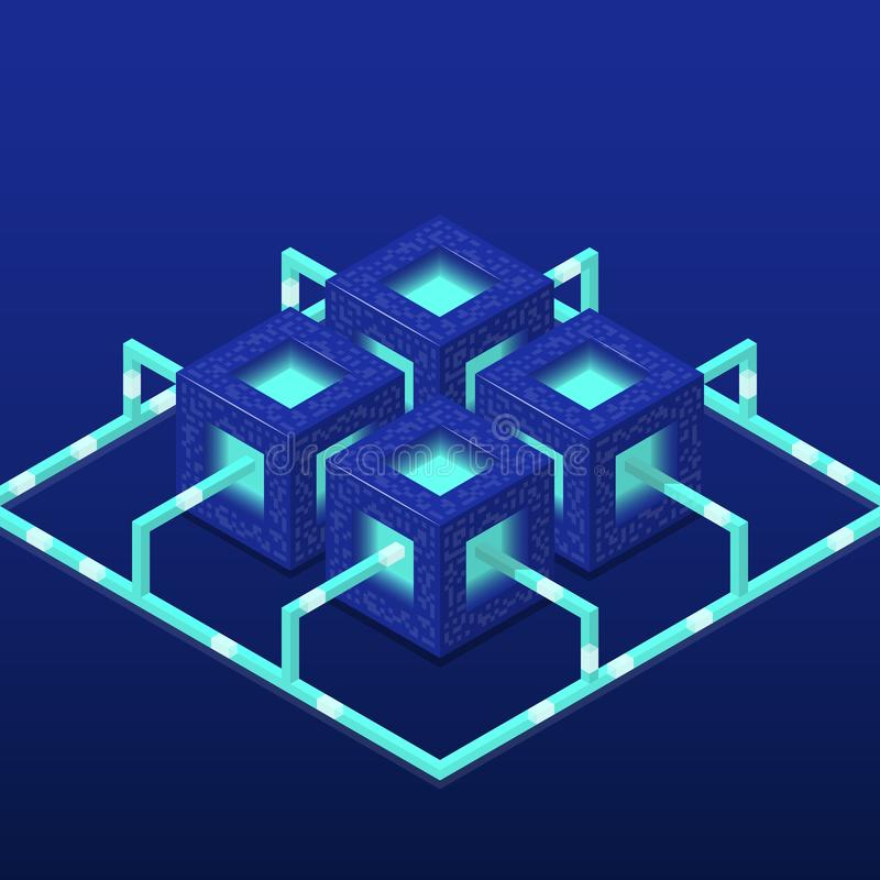 Cryptocurrency and blockchain isometric vector composition with blocks. EPS10 stock illustration