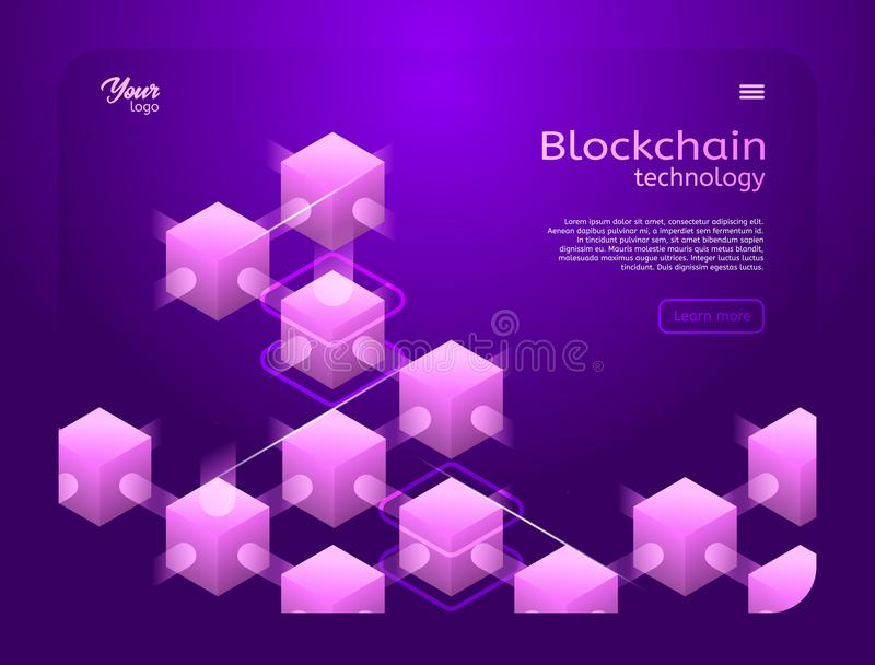 Cryptocurrency and blockchain isometric vector illustration. royalty free illustration