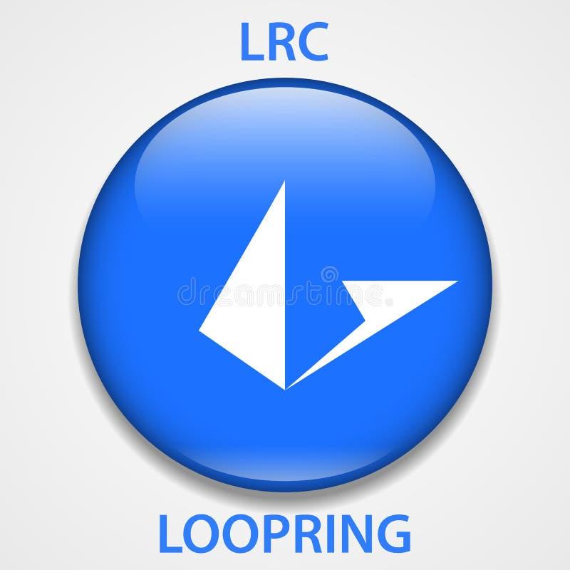 Cryptocurrency blockchain pictogram van het Loopringsmuntstuk Virtueel elektronisch, Internet-geld of cryptocoin symbool, embleem vector illustratie