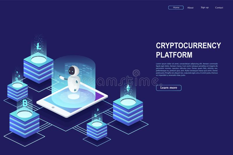 Cryptocurrency and blockchain. Robot is working on crypto start up using a smartphone. vector illustration