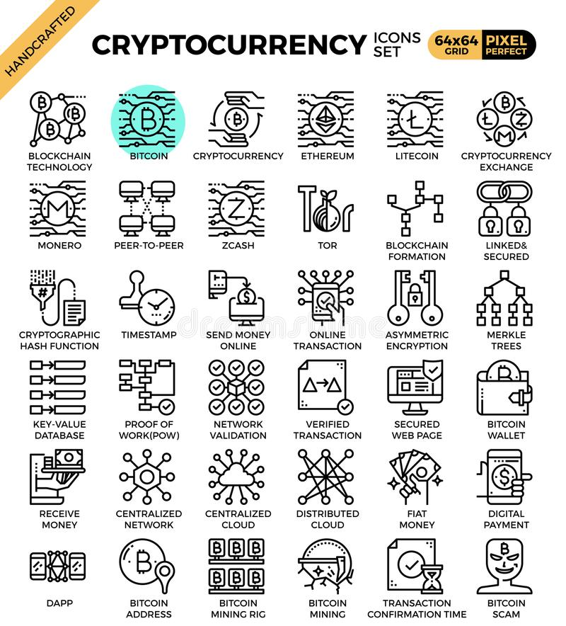 Cryptocurrency and blockchain technology concept icons. Set in modern line icon style for ui, ux, website, web, app graphic design vector illustration
