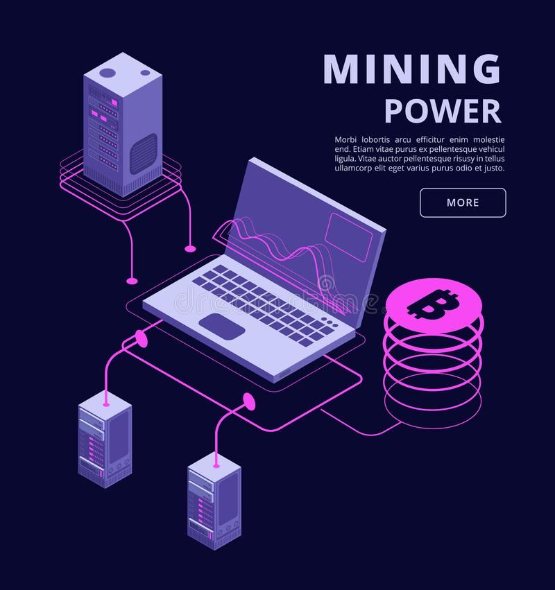 Cryptocurrency, blockchain, token trading, bitcoin farms and ico vector 3d isometric concept. Bitcoin money on computer mining, technology crypto currency royalty free illustration