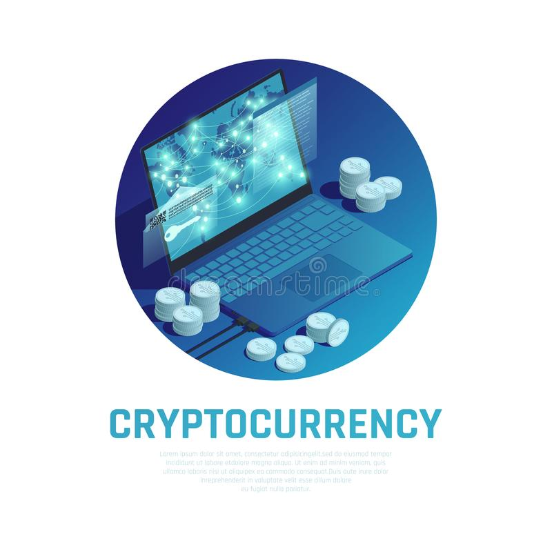 Cryptocurrency Isometric Composition royalty free illustration