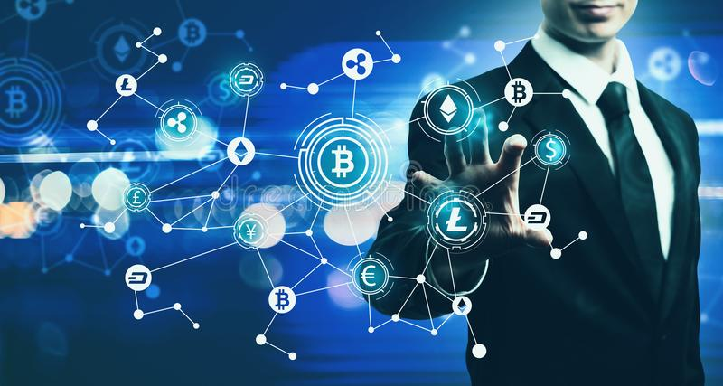 Cryptocurrency with businessman on blue light background. Cryptocurrency with businessman on blurred blue light background stock illustration