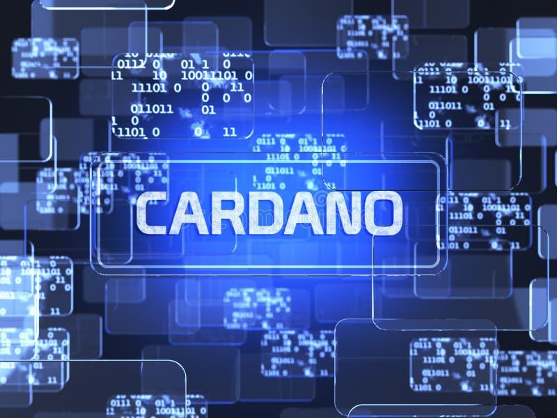 Cryptocurrency Cardano. Future technology block chain cryptocurrency Cardano blue touchscreen interface. Blockchain financial virtual money wallet screen concept vector illustration