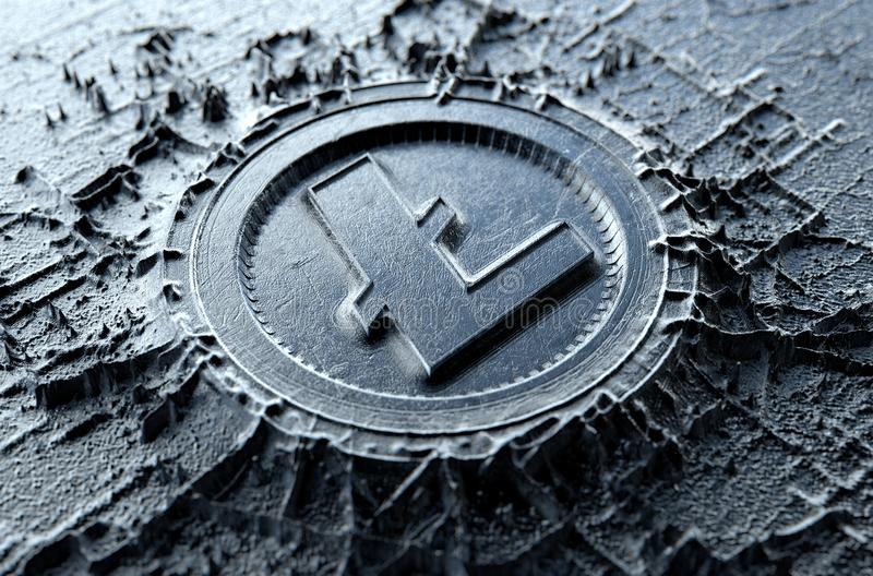 Cryptocurrency Casting Litecoin. A microscopic closeup concept of cast or mined metal that builds up to form a physical litecoin cryptocurrency symbol - 3D vector illustration