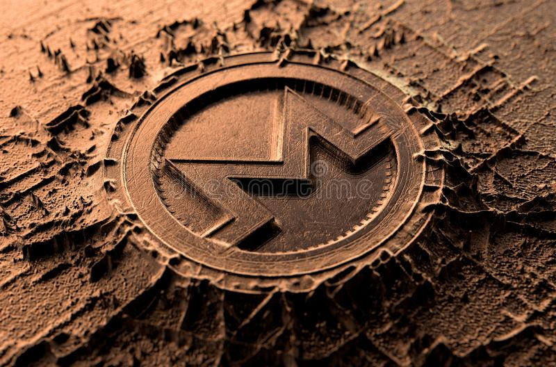 Cryptocurrency Casting Monero. A microscopic closeup concept of cast or mined metal that builds up to form a physical monero cryptocurrency symbol - 3D render stock illustration