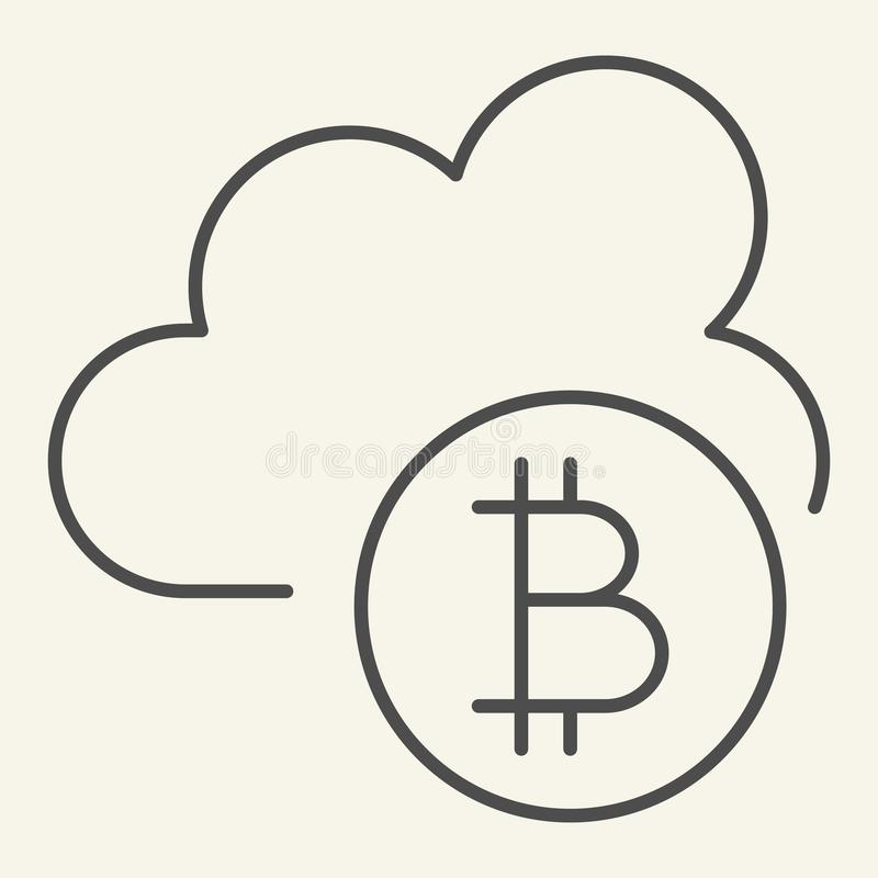 Cryptocurrency chmury cienka kreskowa ikona Bitcoin i obłoczna wektorowa ilustracja odizolowywający na bielu Cryptocurrency kopal ilustracji