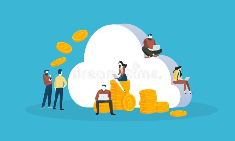 Cryptocurrency chmury kopalnictwo ilustracja wektor
