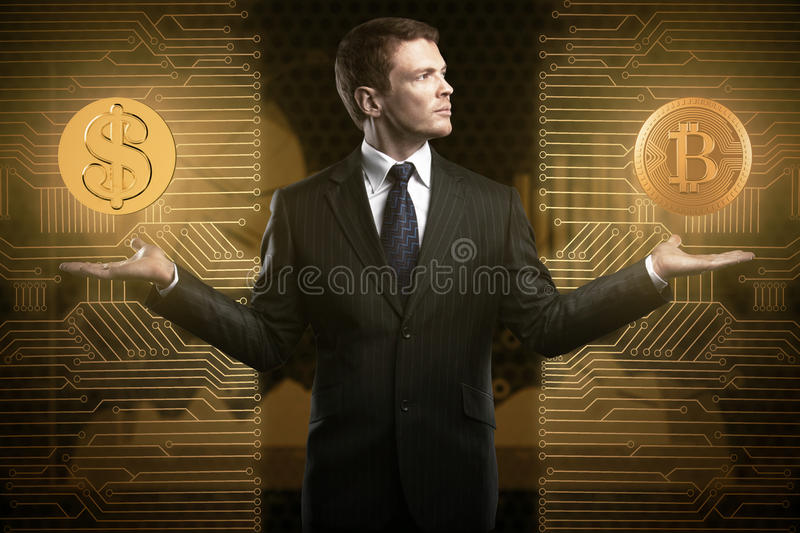 Cryptocurrency and choice concept stock photography