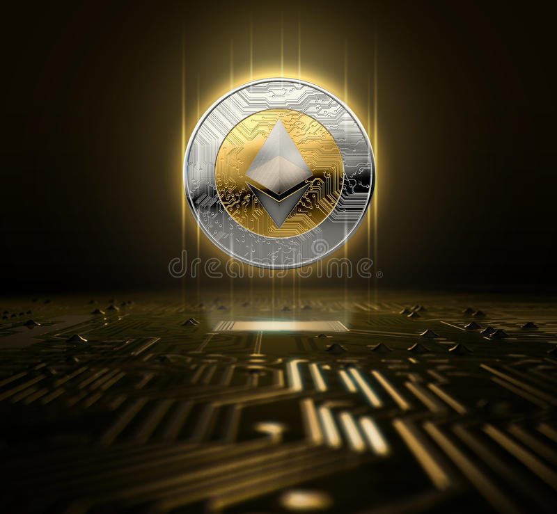 Cryptocurrency And Circuit Board. A ethereum cryptocurrency hologram in gold and silver physical coin form hovvering over a computer circuit board- 3D render stock illustration