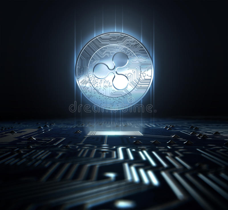 Cryptocurrency And Circuit Board. A ripple cryptocurrency hologram coin form hovvering over a computer circuit board- 3D render royalty free illustration