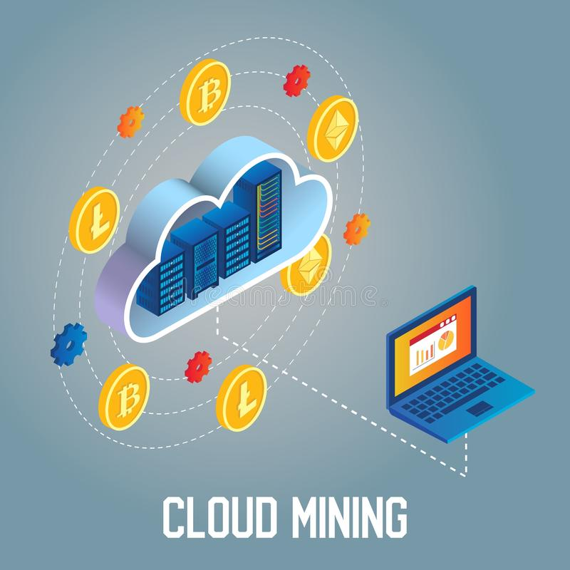 Cloud mining concept vector isometric illustration vector illustration