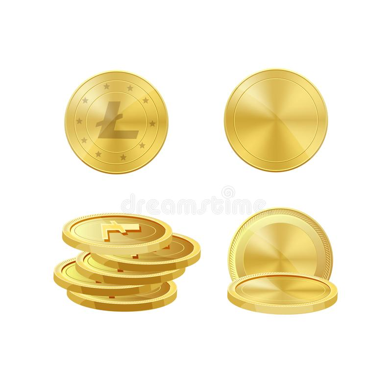 Cryptocurrency coins of gold metal litecoins. Electronic virtual currency bitcoins royalty free illustration