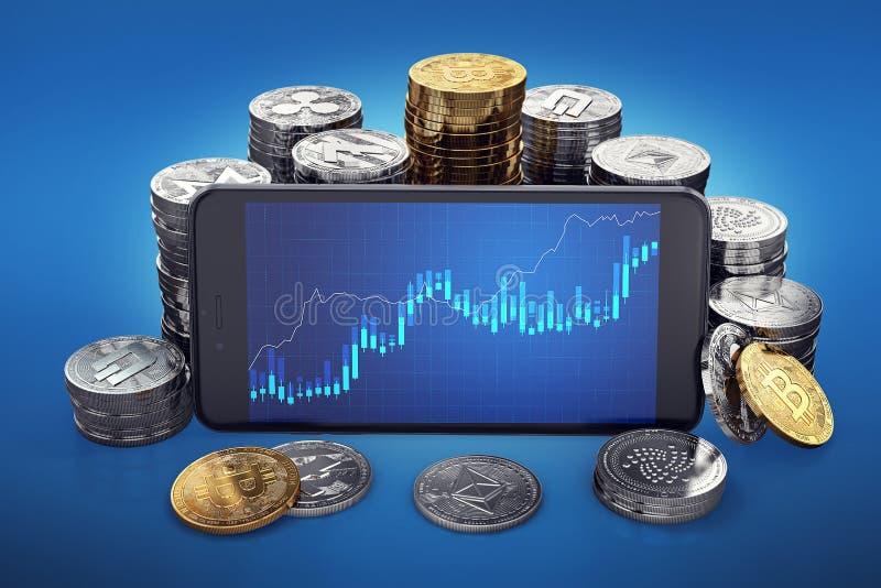 Cryptocurrency coltiva il grafico sullo schermo dello smartphone Mucchi differenti di cryptocurrencies intorno illustrazione di stock