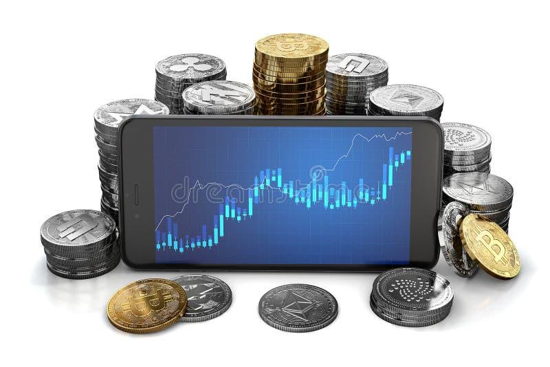 Cryptocurrency coltiva il grafico visualizzato sullo schermo dello smartphone circondato dai mucchi differenti di cryptocurrencie illustrazione di stock