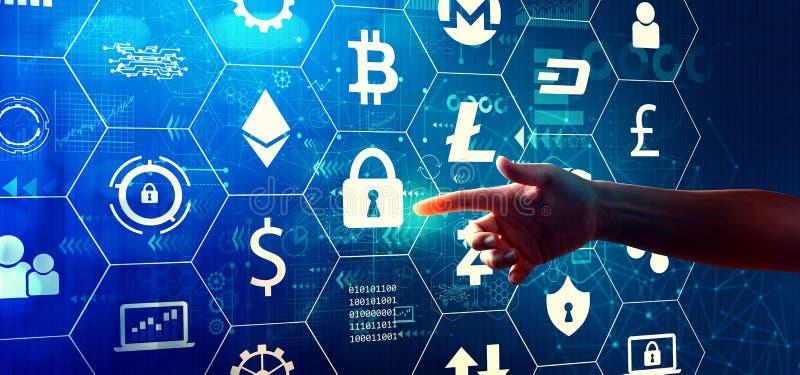 Cryptocurrency com press?o de m?o um bot?o imagens de stock