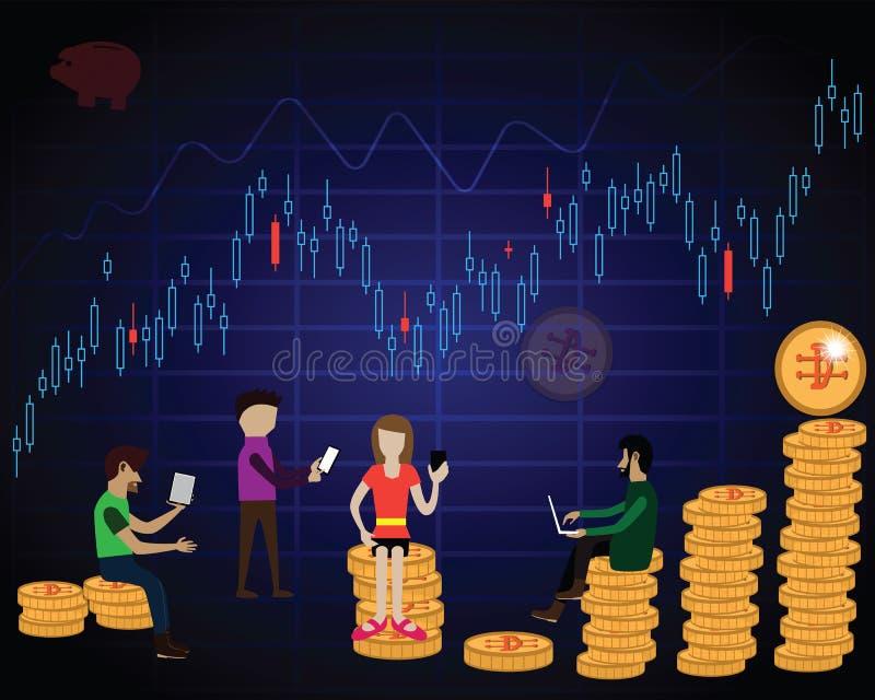 Cryptocurrency comercial de una gente más joven para la renta pasiva - vector stock de ilustración