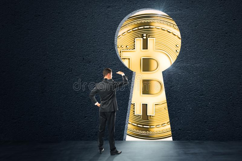 Cryptocurrency and commerce concept royalty free stock photo