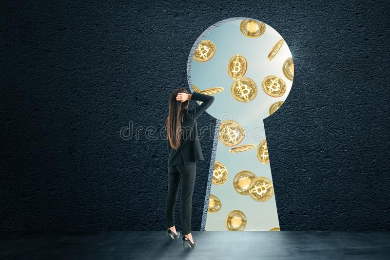 Cryptocurrency and commerce concept stock photography