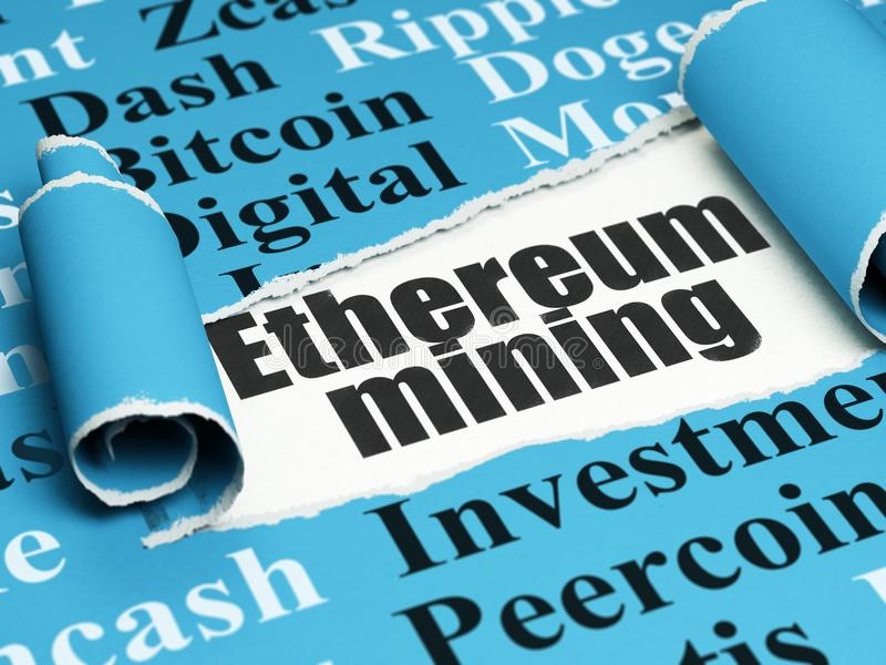 Cryptocurrency concept: black text Ethereum Mining under the piece of torn paper stock images