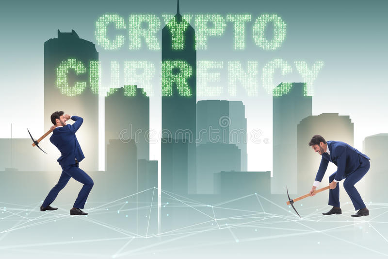 The cryptocurrency concept with businessman mining money stock photo