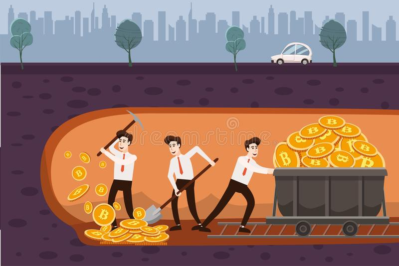 Cryptocurrency concept with businessmans miners and coins. Young men with jackhammer, shovel and pickaxe working in. Bitcoin mine, trolley with cryptocoins vector illustration
