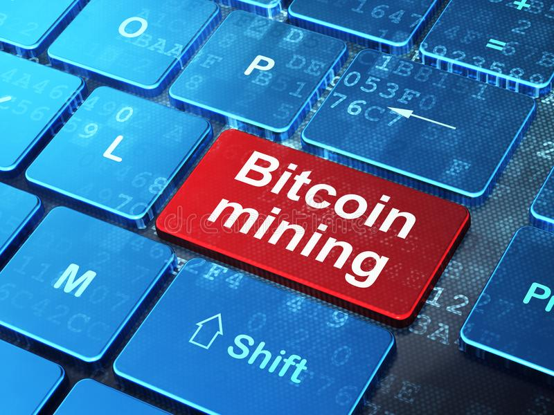 Cryptocurrency concept: Bitcoin Mining on computer keyboard background. Cryptocurrency concept: computer keyboard with word Bitcoin Mining on enter button stock illustration