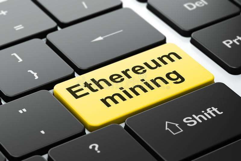 Cryptocurrency concept: Ethereum Mining on computer keyboard background. Cryptocurrency concept: computer keyboard with word Ethereum Mining, selected focus on stock illustration