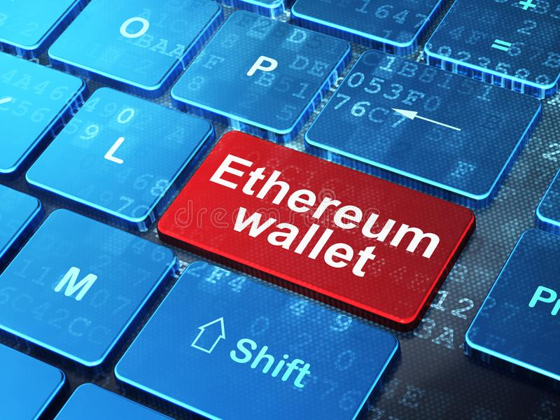 Cryptocurrency concept: Ethereum Wallet on computer keyboard background. Cryptocurrency concept: computer keyboard with word Ethereum Wallet on enter button vector illustration