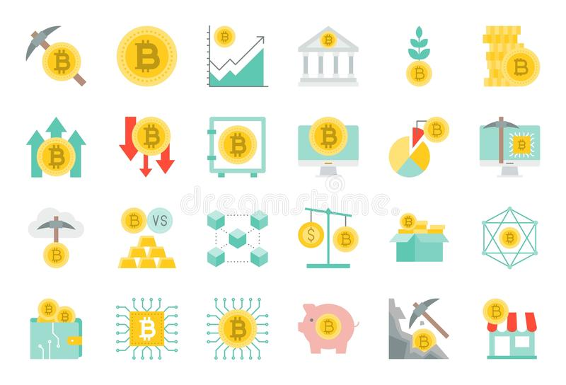 Cryptocurrency concept flat icon set. Such as bitcoin mining, investment, block chain, bitcoin wallet, cloud technology, payment accept, node royalty free illustration