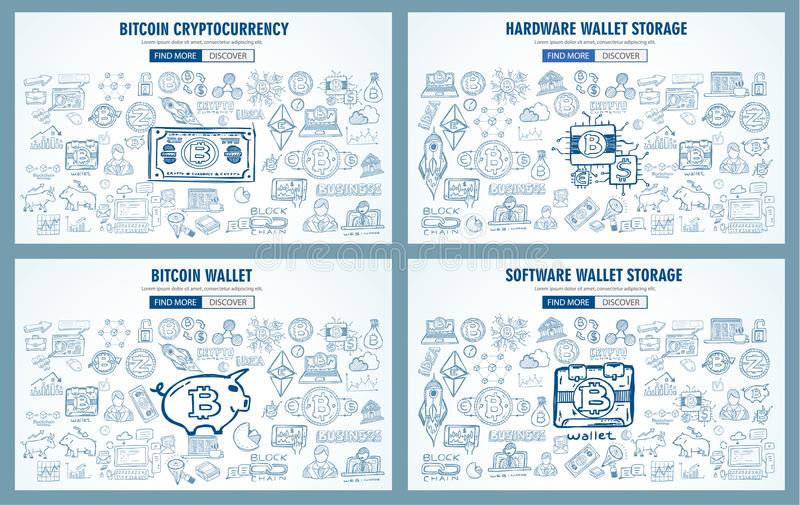 Cryptocurrency concept hand drawn doodle designs like: blockchains, software wallet etc. Cryptocurrency concept hand drawn doodle designs like: blockchains royalty free illustration