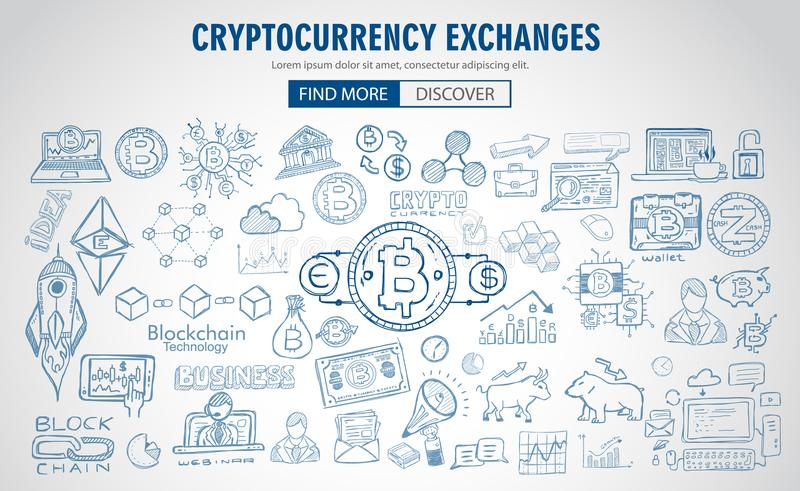 Cryptocurrency concept hand drawn doodle designs like: blockchains, software wallet etc. Cryptocurrency concept hand drawn doodle designs like: blockchains vector illustration