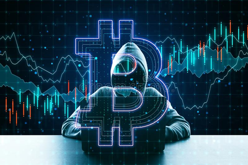 Cryptocurrency concept with no face hacker stock photos