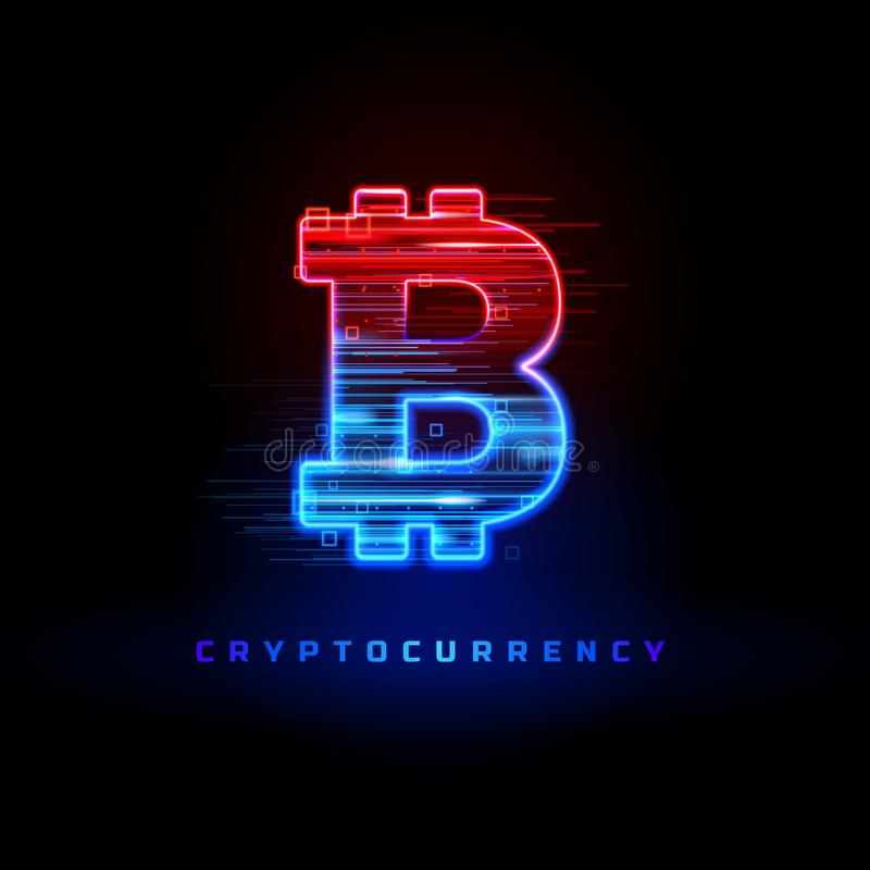 Cryptocurrency concept. Textured neon light sign with neon lines, geometric figures. Movement of particles, the flow of. Data, exchange of information vector illustration