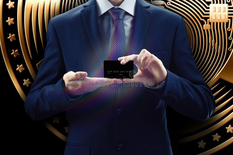 Cryptocurrency virtual screen. Business, Finance and technology concept. Bit coin, Ethereum block chain. Businessman with phone fo. Cryptocurrency and credit royalty free stock image