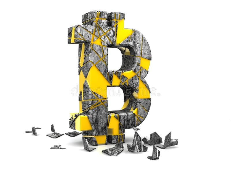 Cryptocurrency crisis concept, collapse Golden bitcoin symbol cryptocurrency broken 3D rendering isolated on white background. New stock illustration