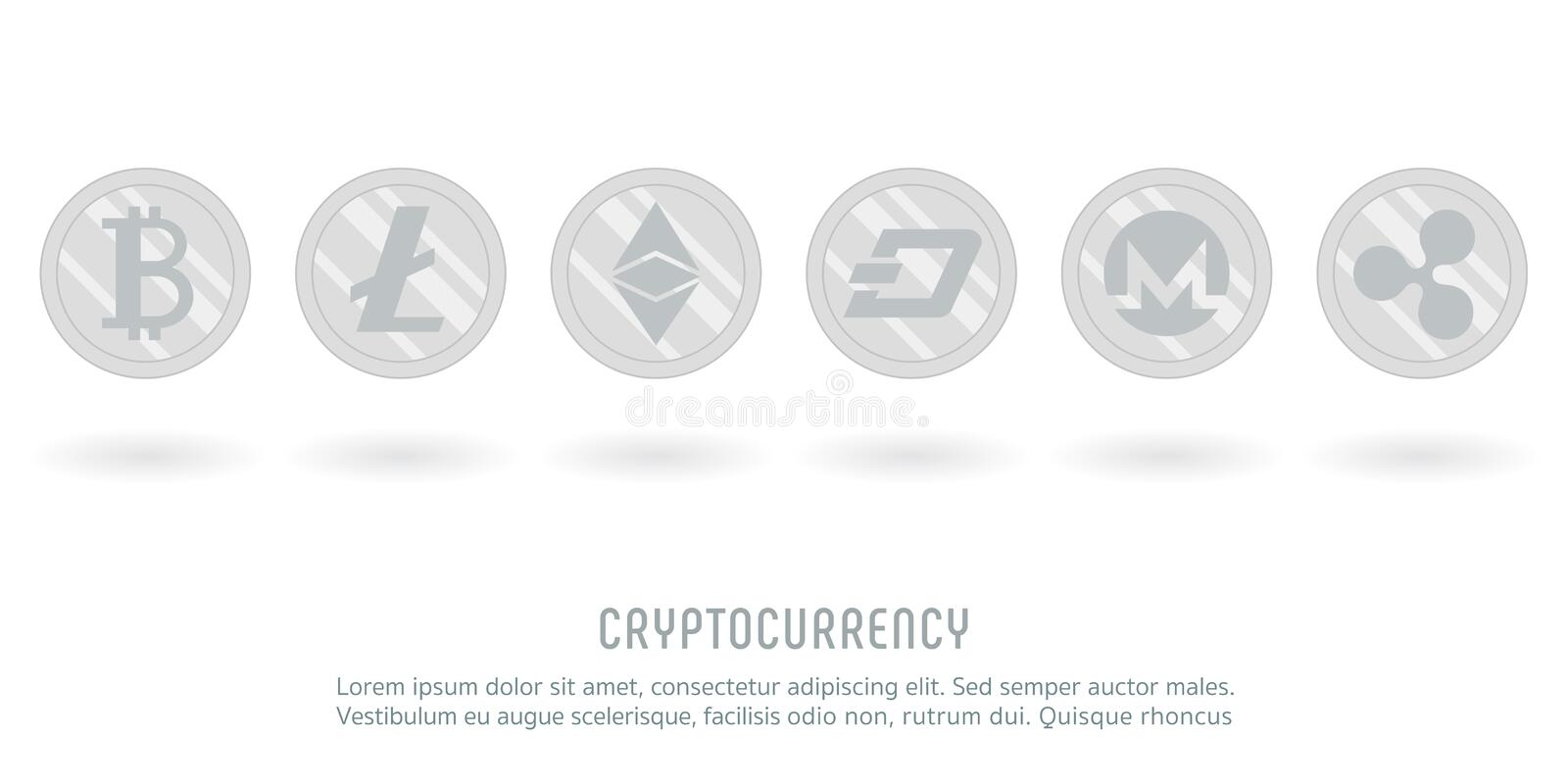 Cryptocurrency crypto silver coin stock illustration