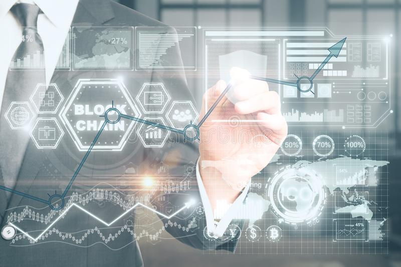 Cryptocurrency, cryptography and e-business concept royalty free stock image