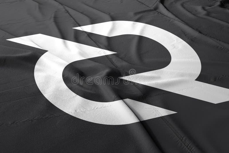 Cryptocurrency 3d de DCR de Decred rendre le drapeau illustration stock
