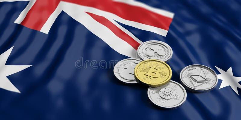 Cryptocurrency dans l'Australie Le bitcoin et la variété d'or de pièces de monnaie virtuelles argentées sur l'Australie marquent  illustration libre de droits
