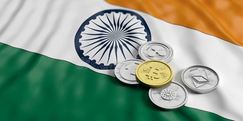 Cryptocurrency dans l'Inde Le bitcoin et la variété d'or de pièces de monnaie virtuelles argentées sur l'Inde marquent le fond il illustration libre de droits