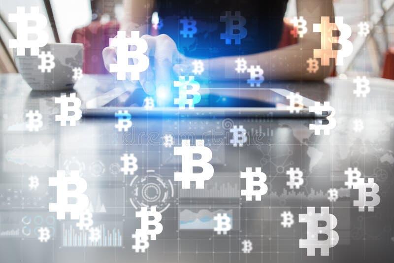 Cryptocurrency de Bitcoin Comercialice el comercio, la tecnología financiera y el concepto digital del dinero stock de ilustración