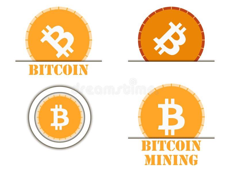 Cryptocurrency de Bitcoin Los iconos del sistema monetario libre illustration