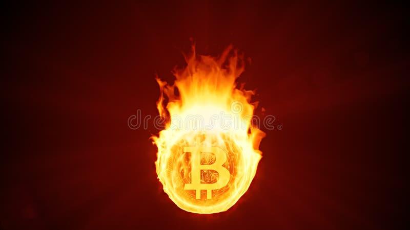 Cryptocurrency de Bitcoin que quema en fuego Disminución, quiebra y burbuja rojas del mercado ilustración del vector